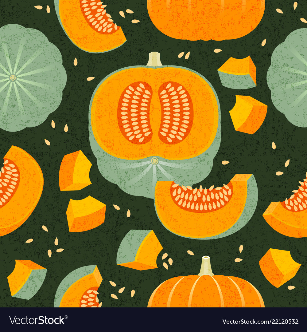 Pumpkins seamless pattern whole cut harvest