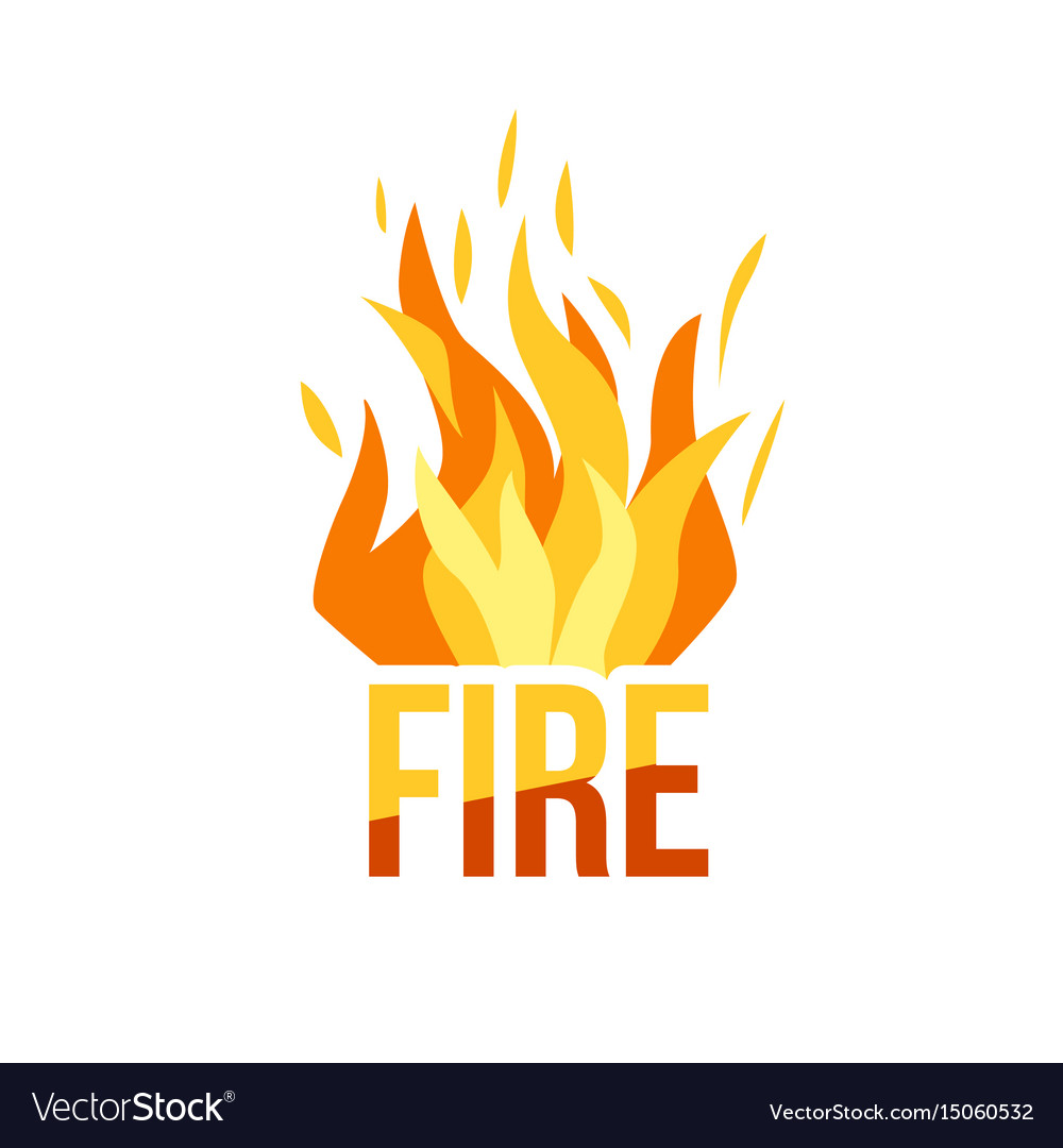 Red fire icon isolated on background