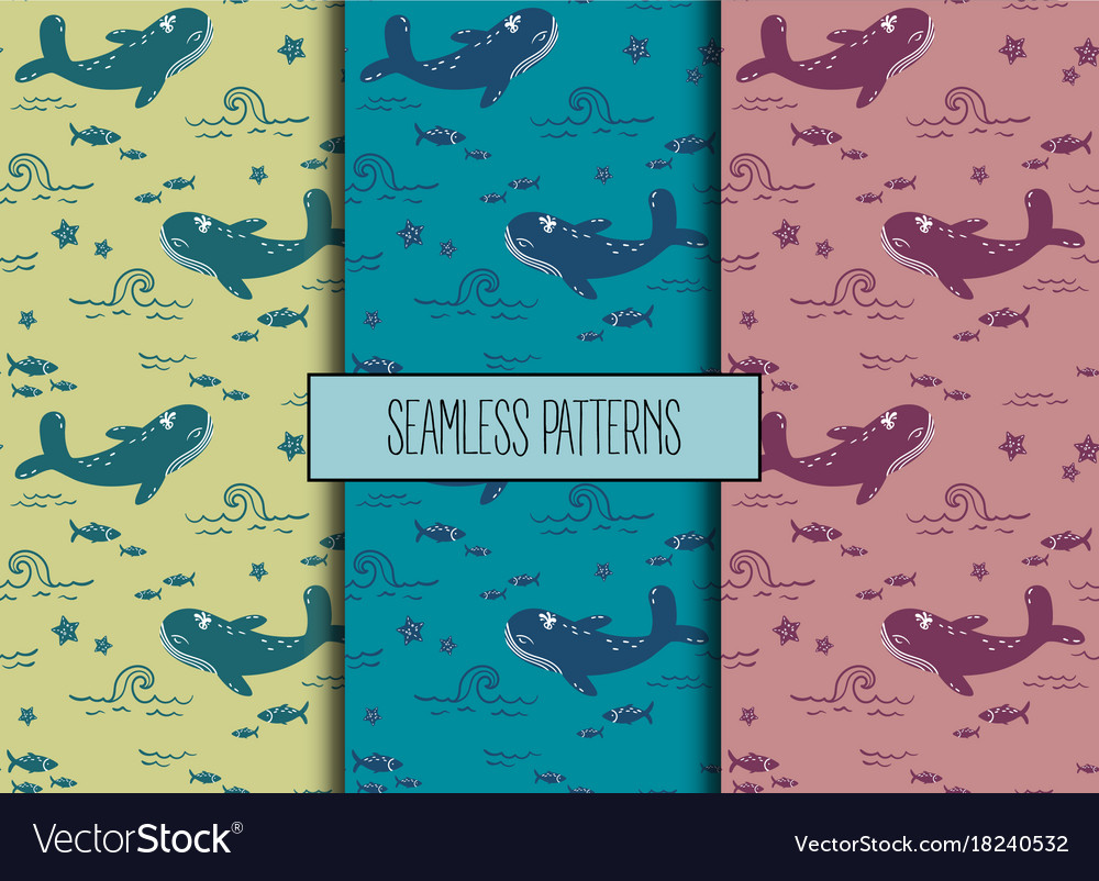 Set of sea seamless patternswhale fish starfish