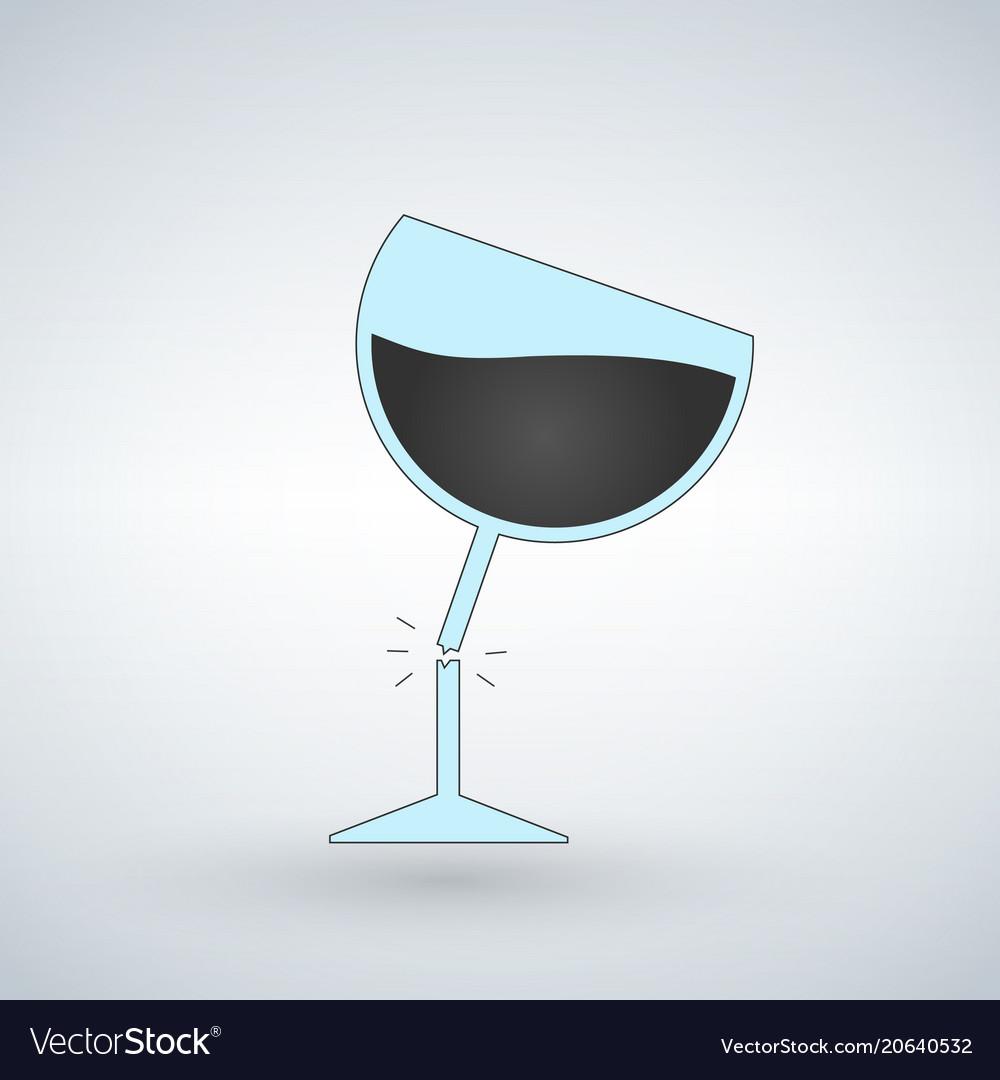 Silhouette of broken wine glass icon for web