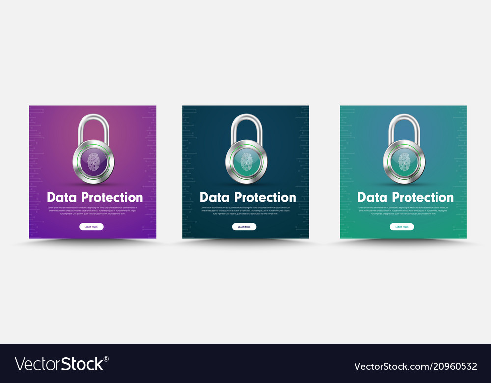 Template of social media banners with padlock and vector image