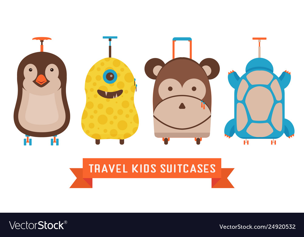 Travel kids suitcases with animals icons