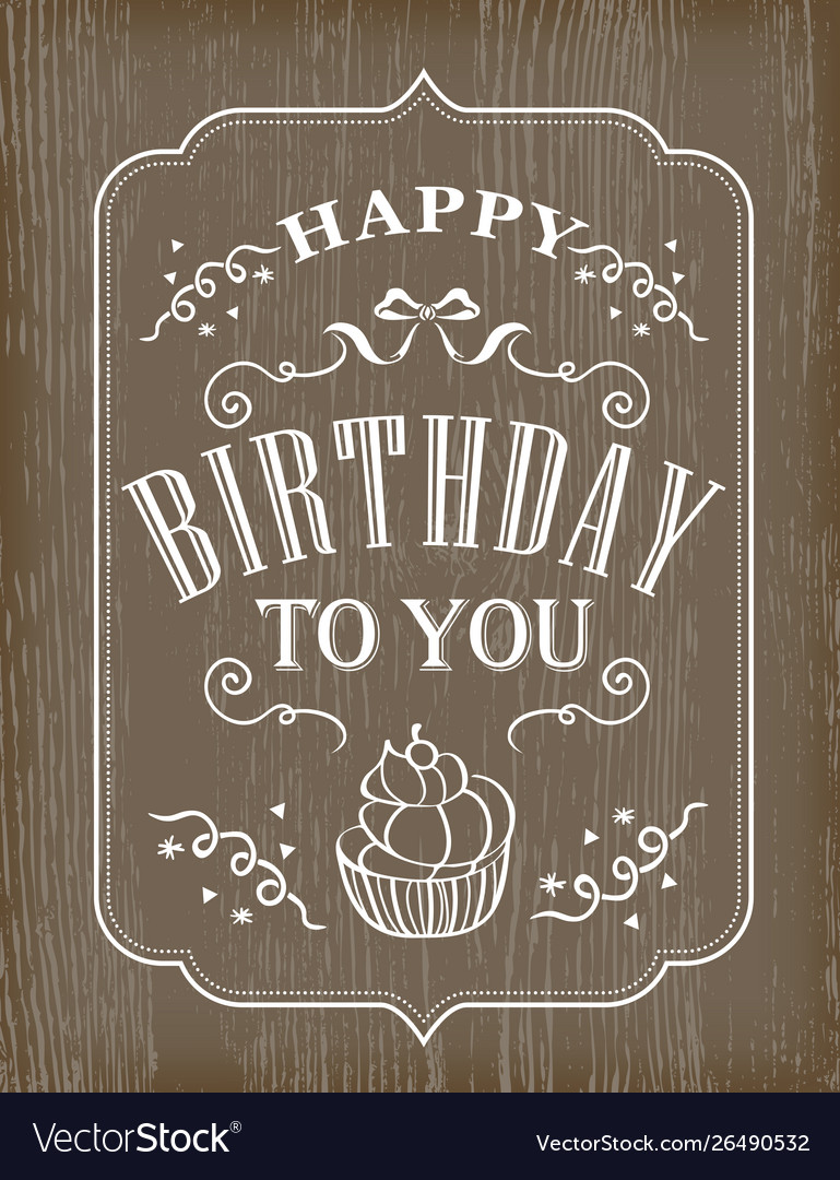 Typography birthday card on wooden background