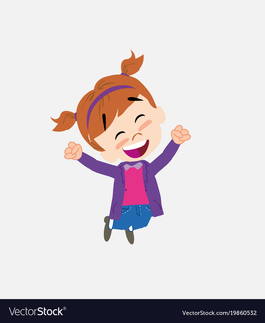 white girl in jeans jumping for joy royalty free vector