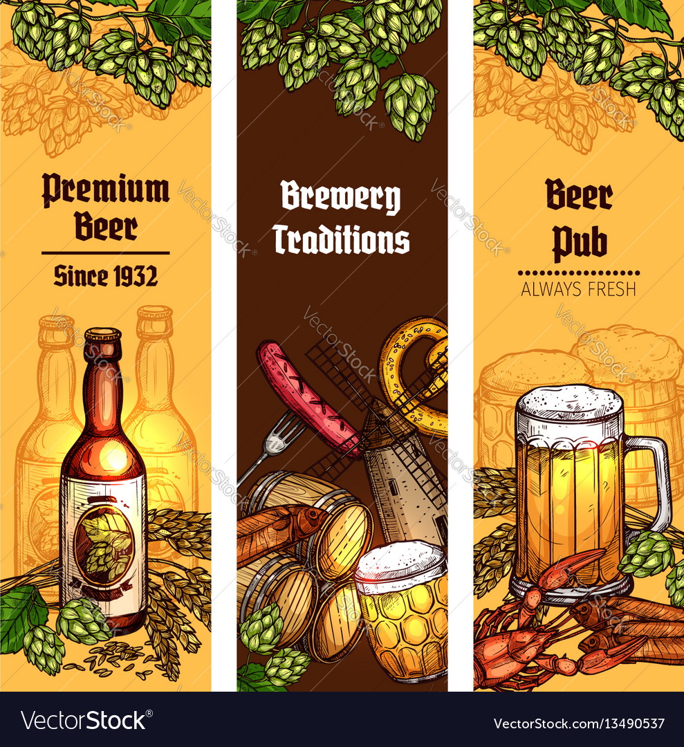 Beer with snacks banner for pub brewery design