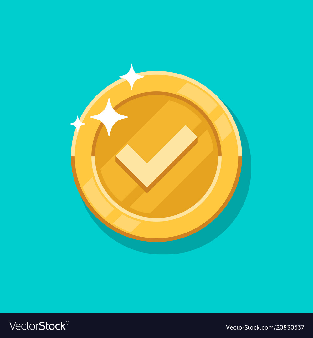 Check mark gold coin icon flat cartoon