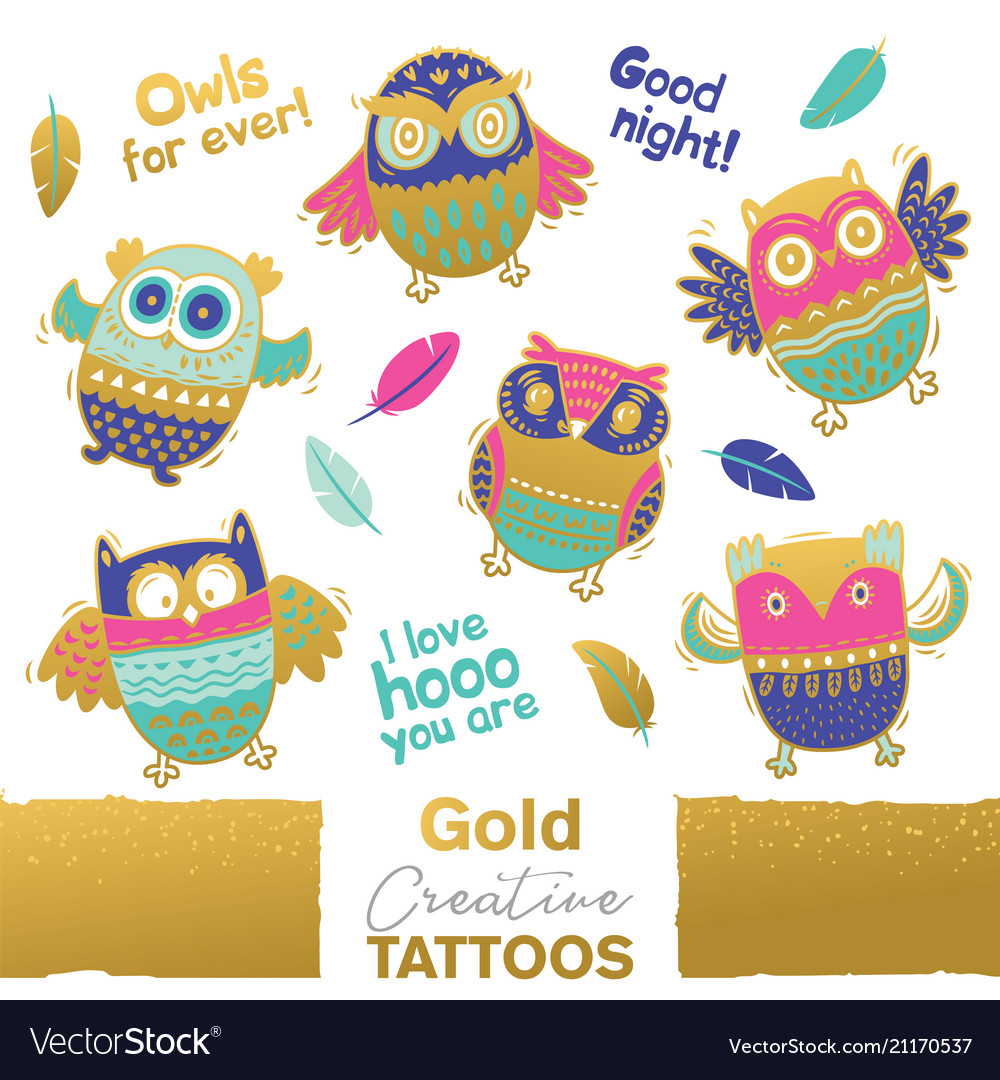 Collection of funny owls with golden