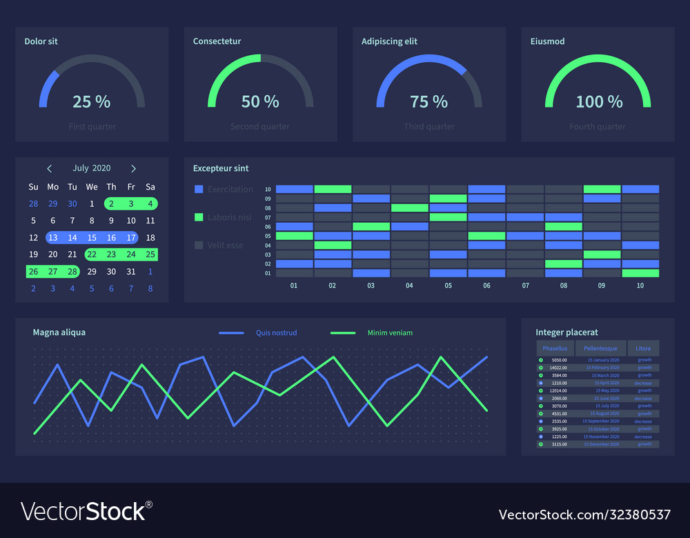 Dashboard with infographic elements charts