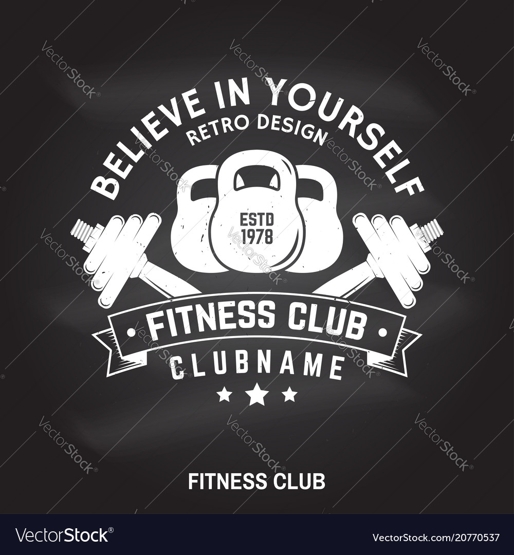 Fitness Club Badge Believe In Yourself Royalty Free Vector