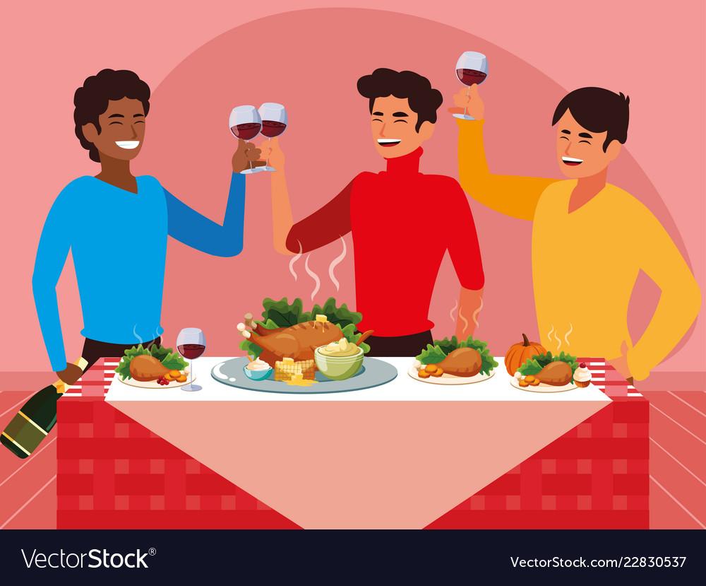 Group of men celebrating thanksgiving