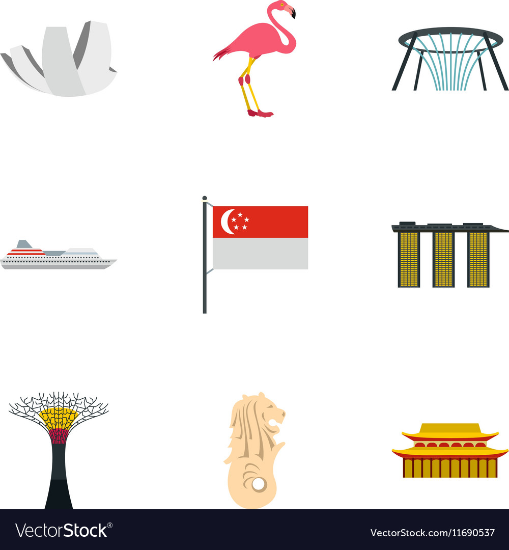 holiday in singapore icons set flat style vector image