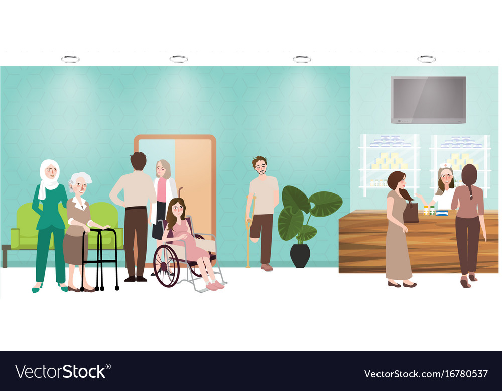 Hospital waiting room clinic lobby reception and