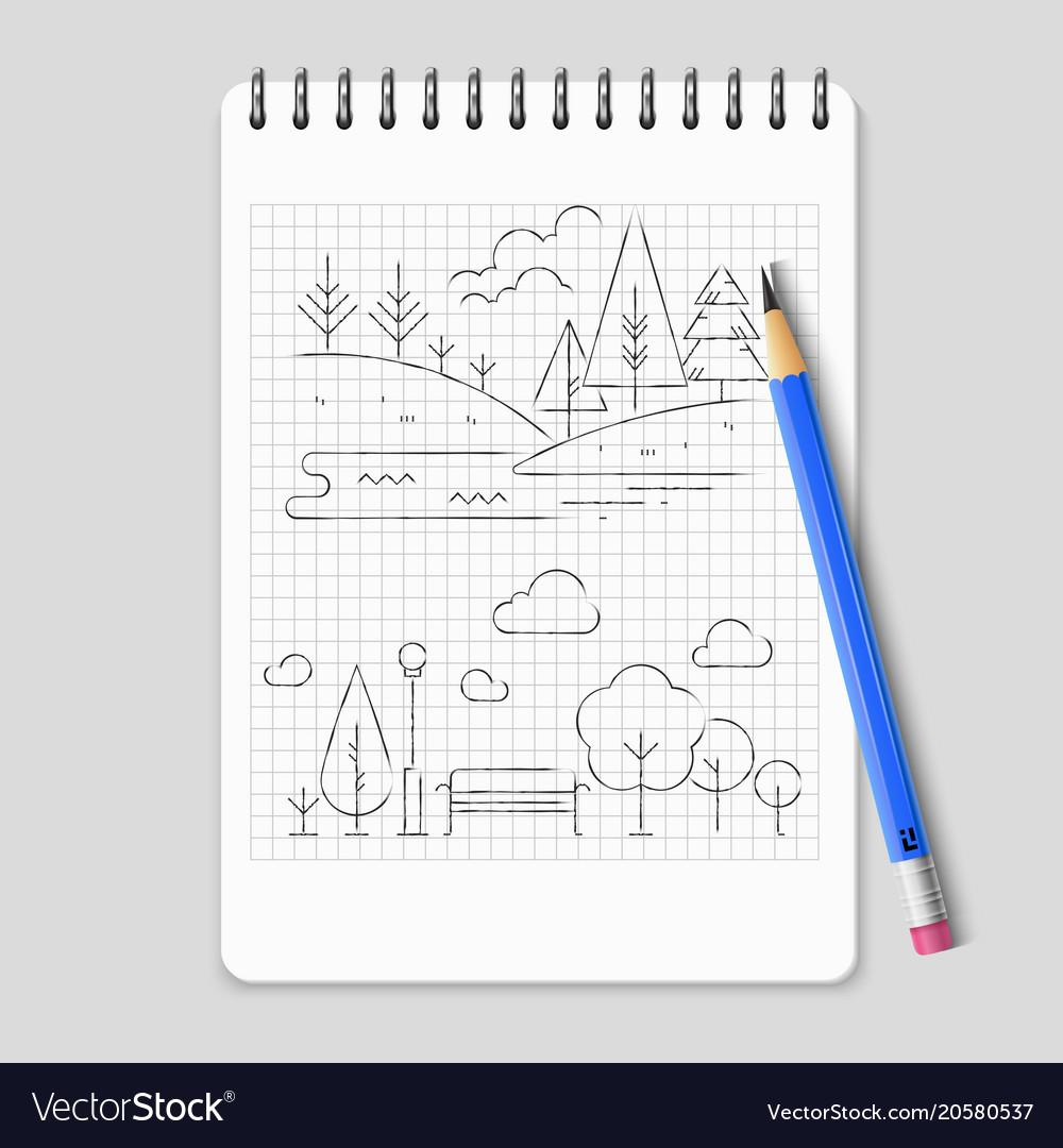 Pencil Drawing Nature Landscape Outline