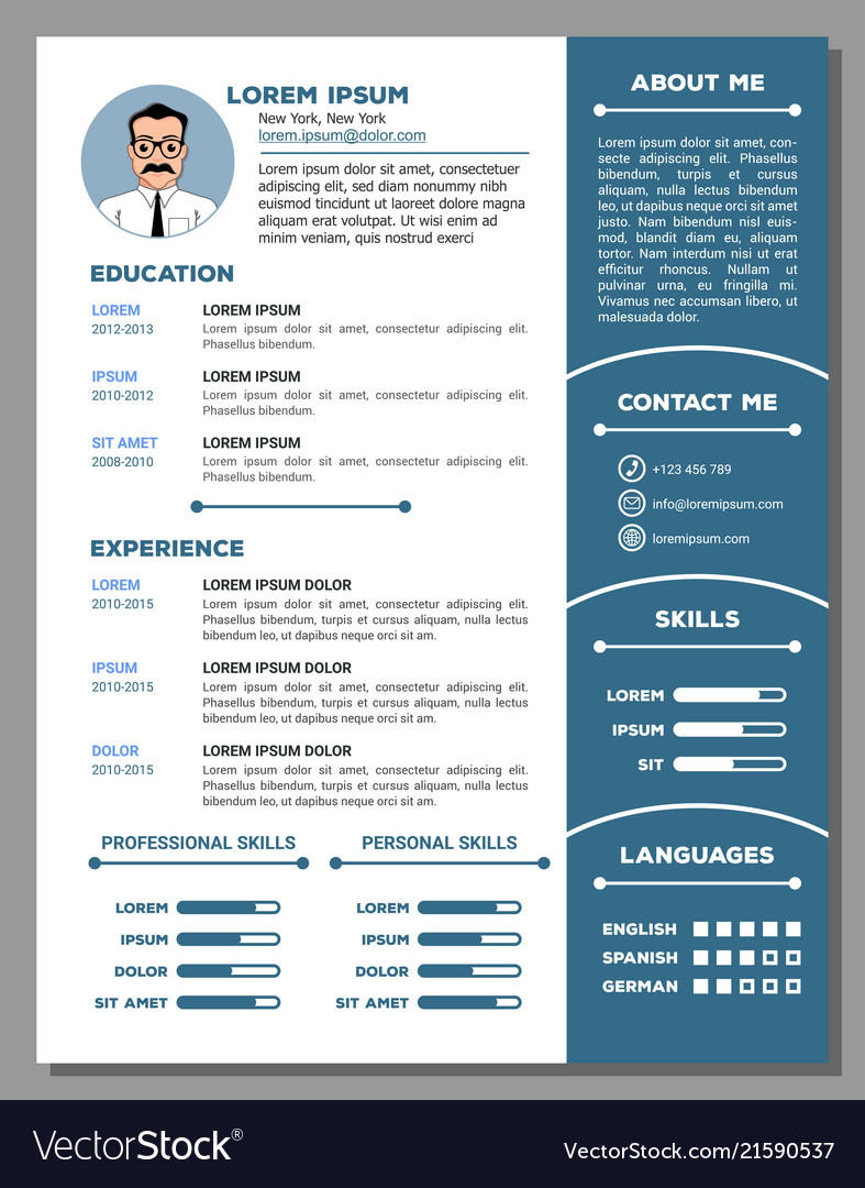 resume and cv template with nice design royalty free vector