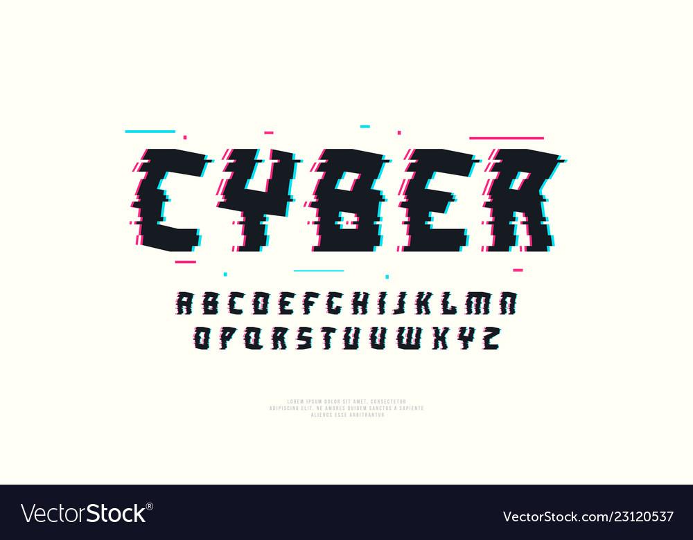 Sans serif font with glitch distortion effect