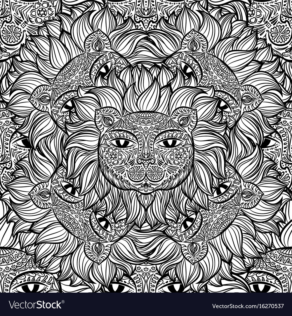 Seamless pattern with a lion heads on a white