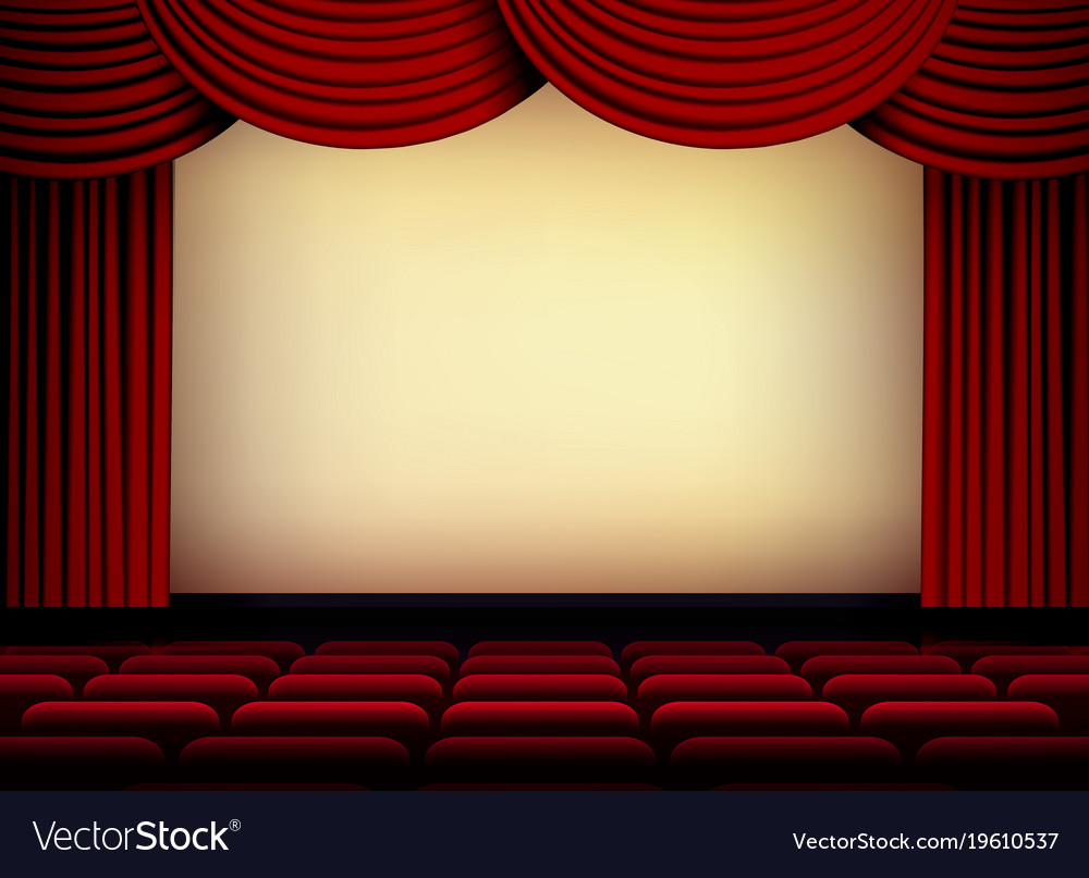 Theater or cinema auditorium screen with red