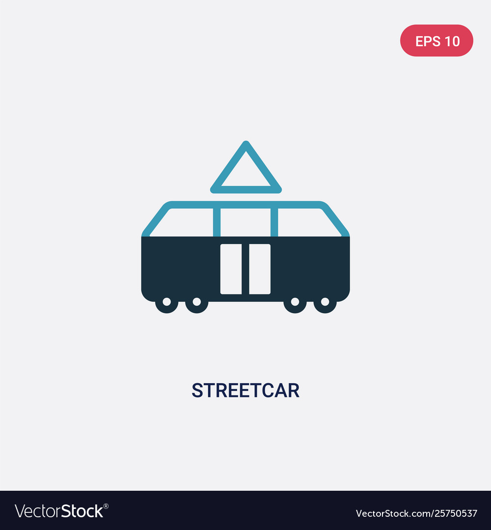 Two color streetcar icon from transport concept