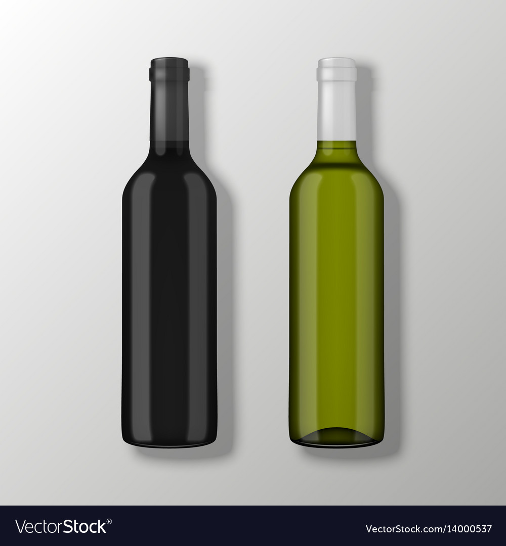 Two realistic wine bottles in top view