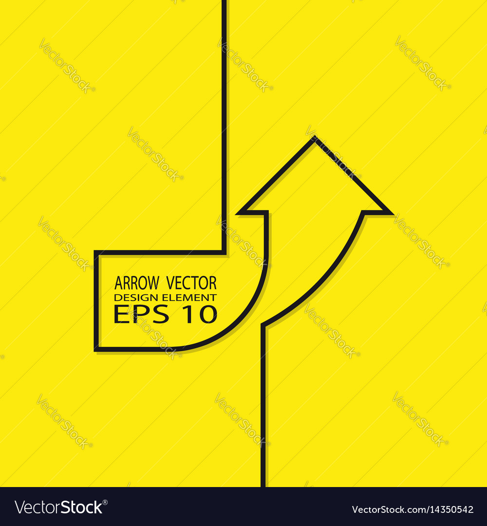 Arrow up contour on a yellow background design