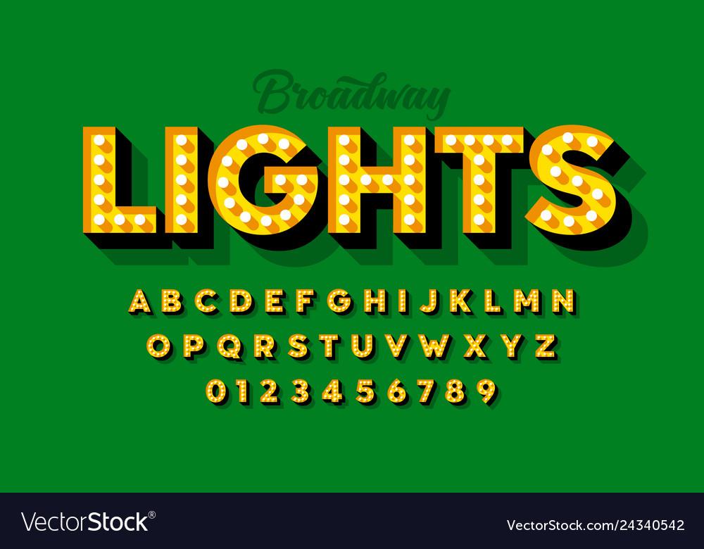 Broadway lights retro style light bulb font