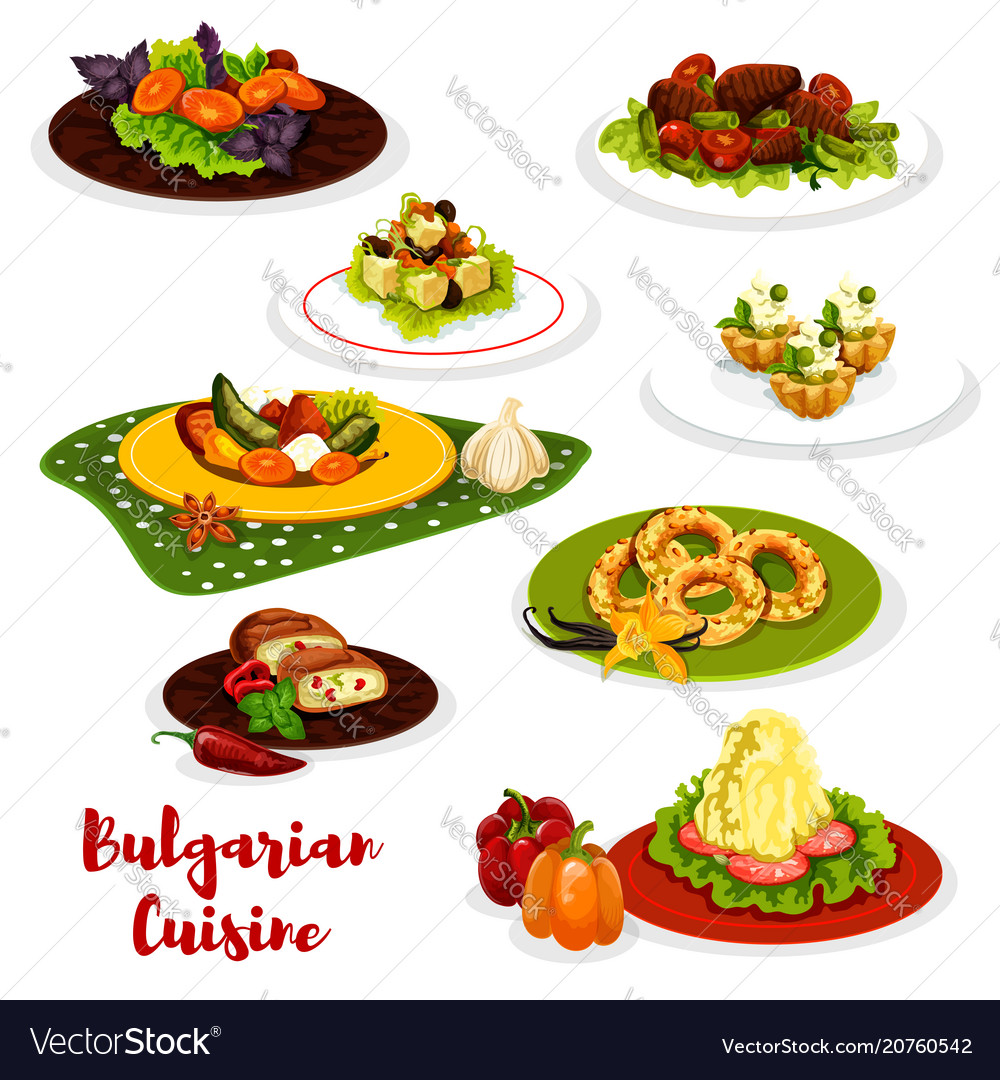 Bulgarian cuisine lunch menu icon with meat dish