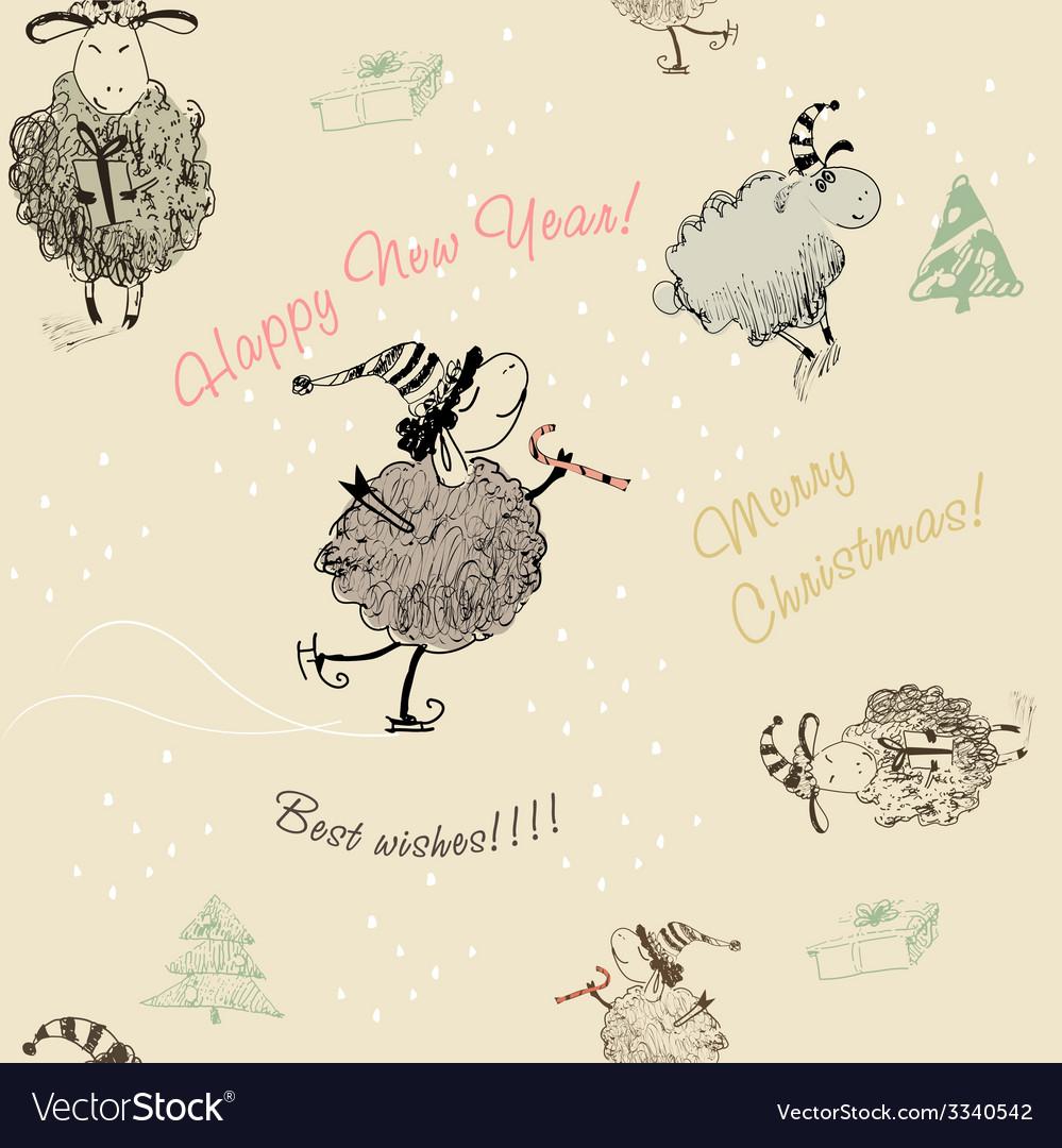 Christmas seamless texture with sheep