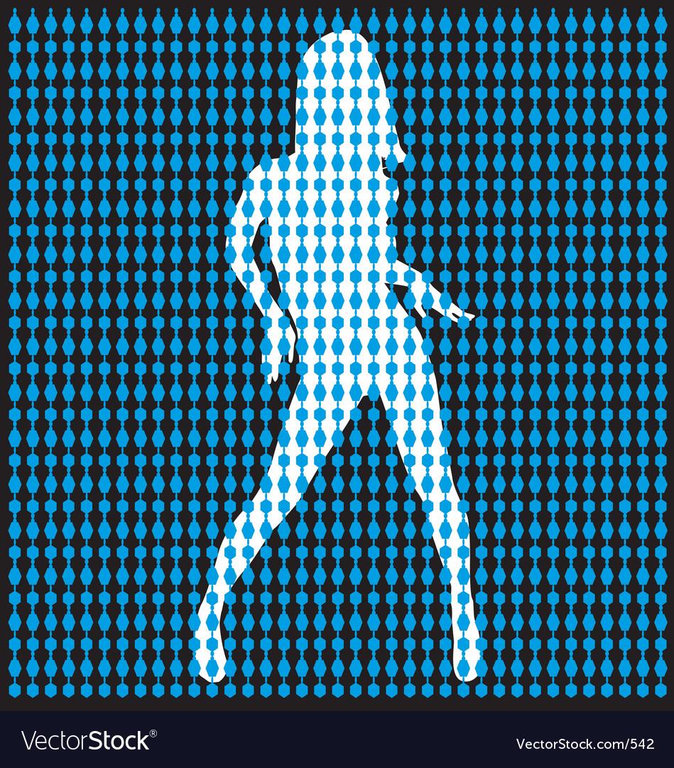 Dancer Behind Bead Curtain Vector Image