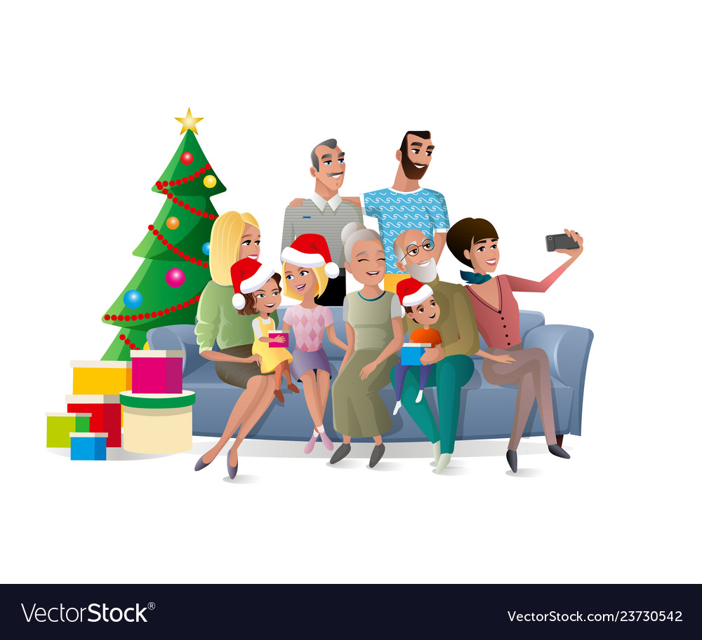 Christmas Party Images Cartoon.Family Selfie At Christmas Party Cartoon