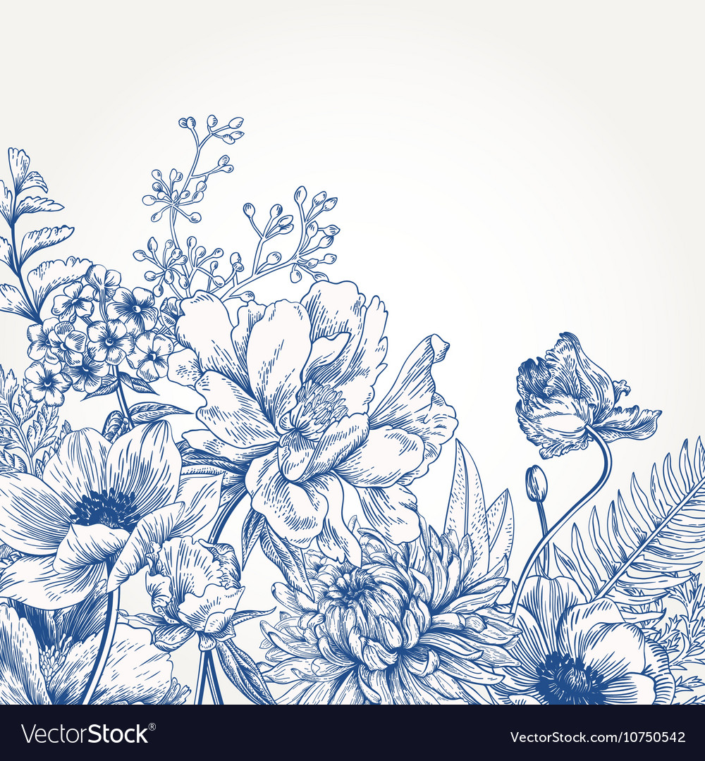 Floral Background With Vintage Flowers Royalty Free Vector