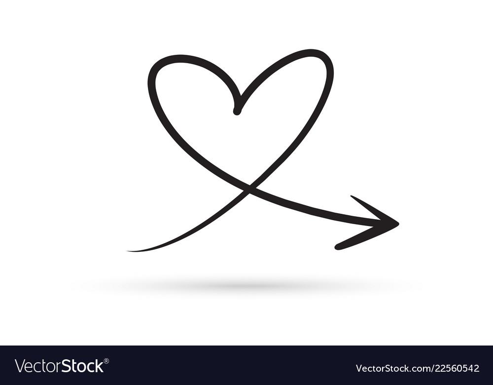 Love heart arrow draw doodle brush sketch cartoon