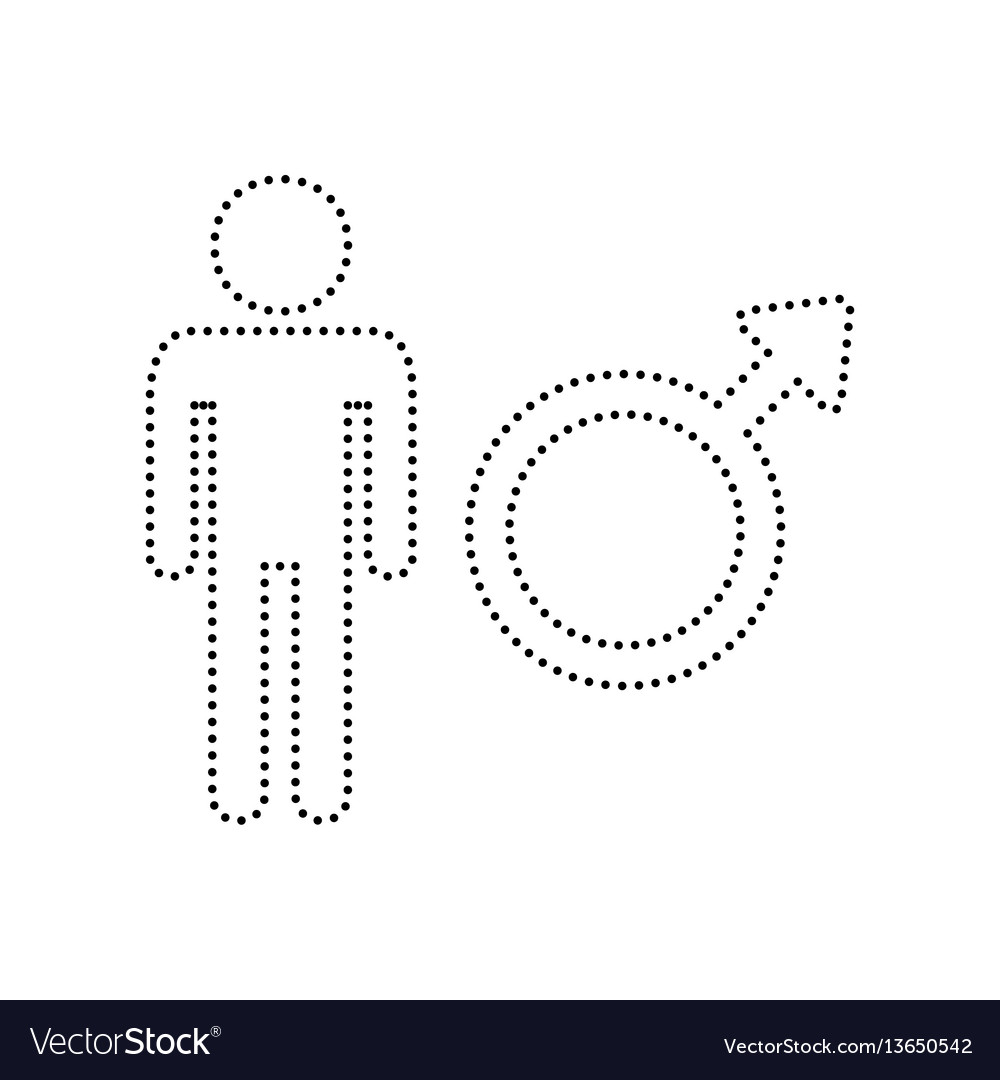 Male sign black dotted icon vector image