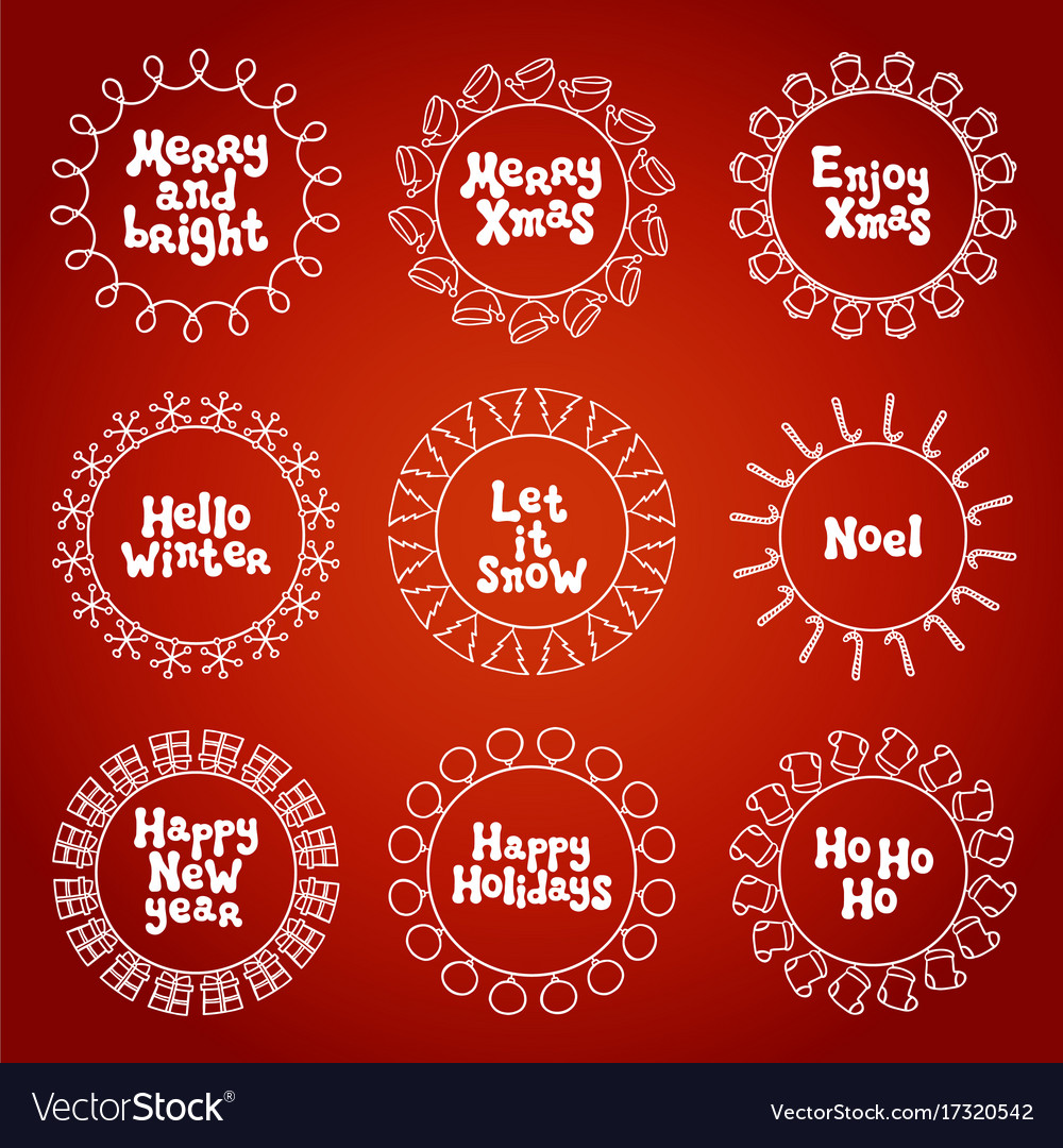 merry christmas new year wishes labels stickers vector image