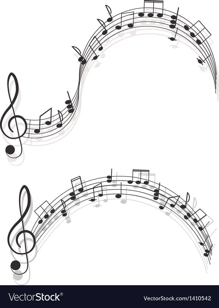 Music two treble clefs and notes for your design