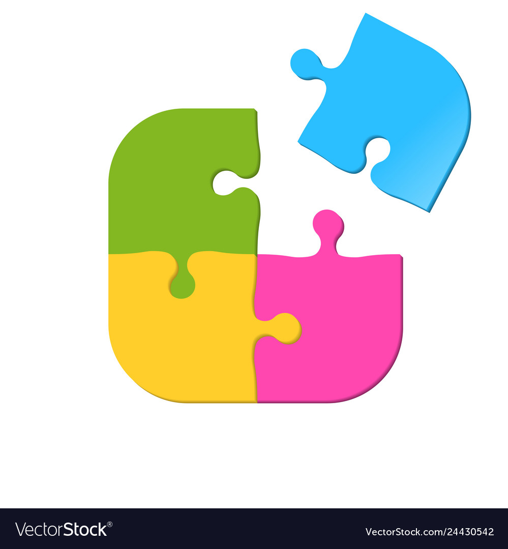 Puzzle icon four pieces jigsaw game icon