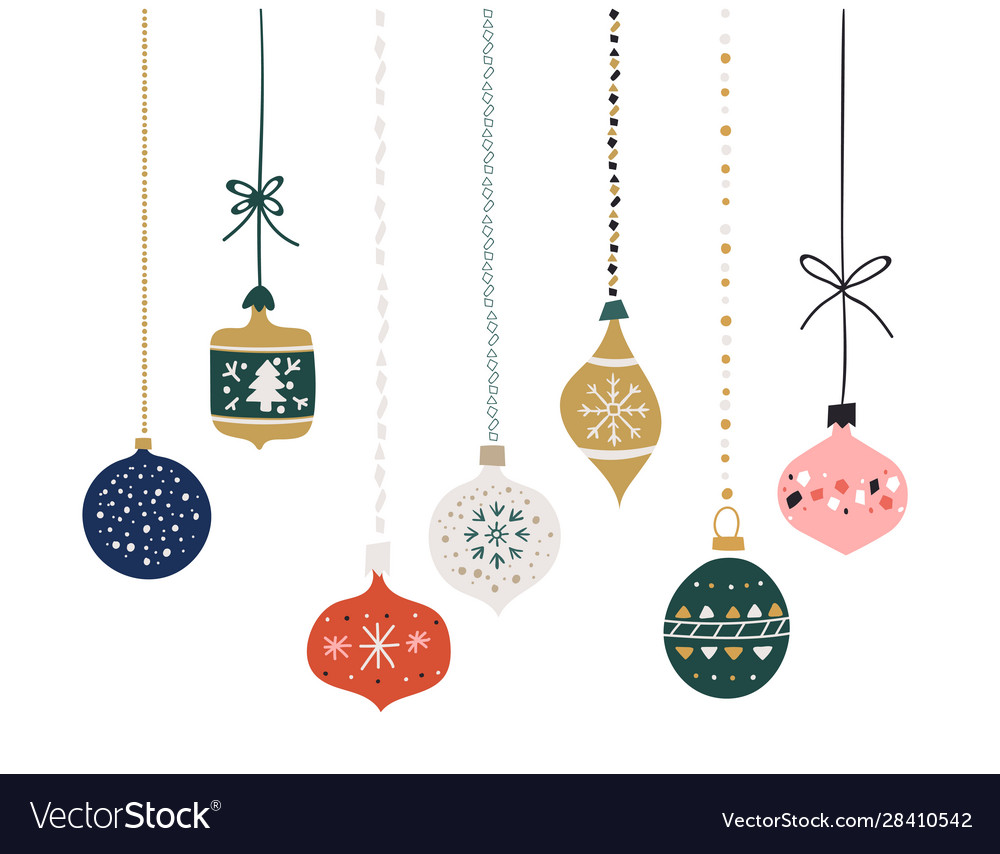 Set hand drawn christmas baubles decoration vector