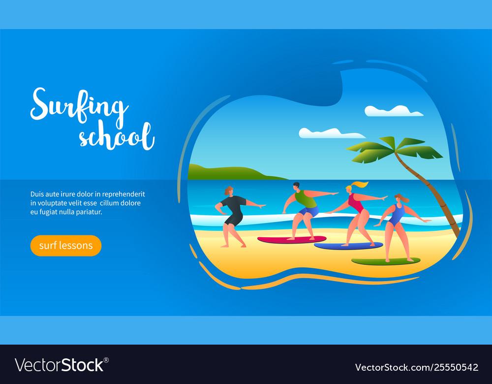 Surfing school concept