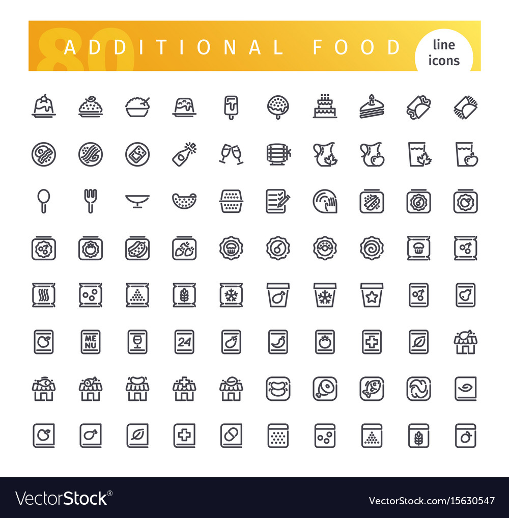 Additional food line icons set
