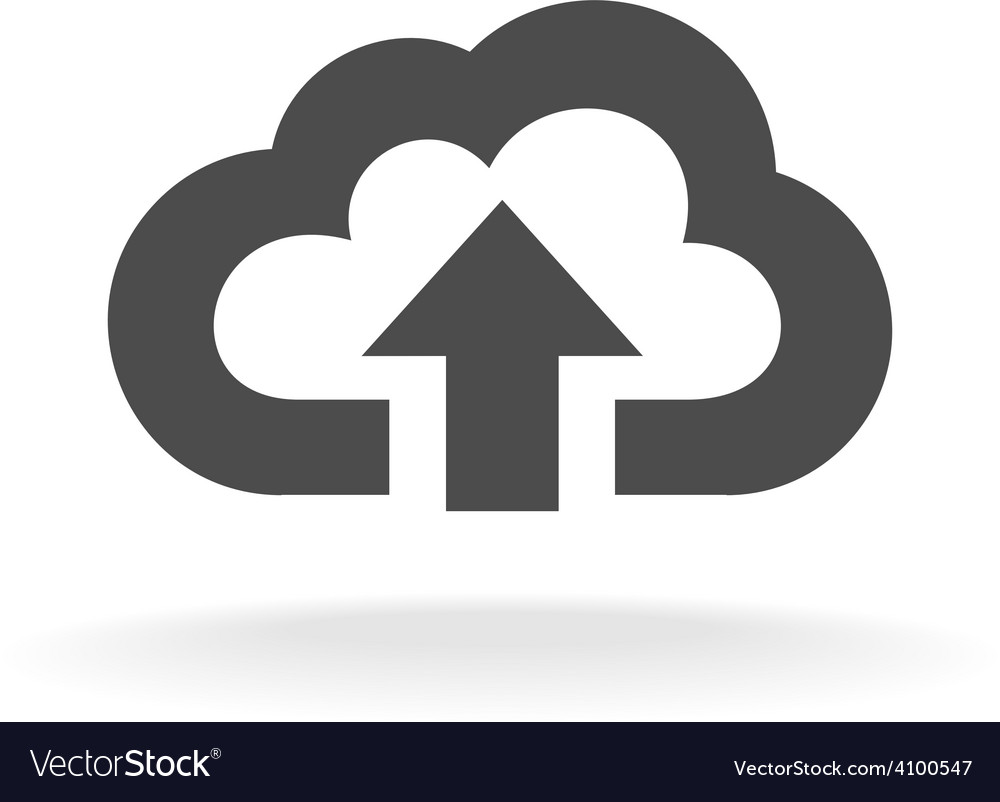 Cloud upload symbol Black wide outline style icon