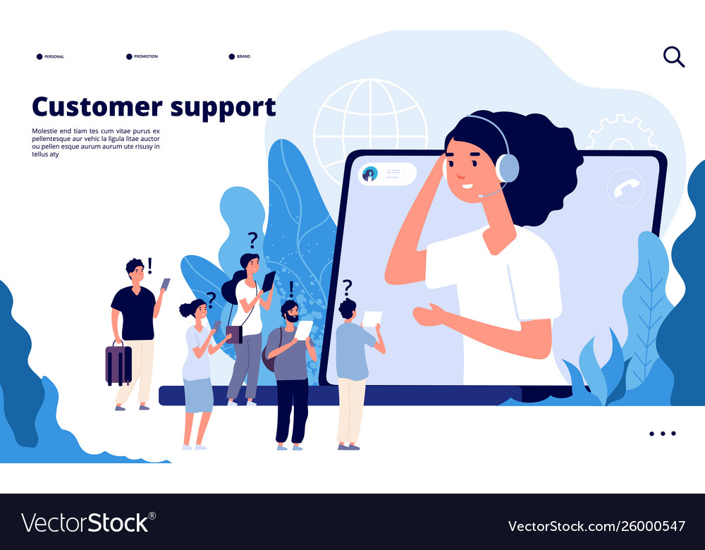 Customer support concept professionals help