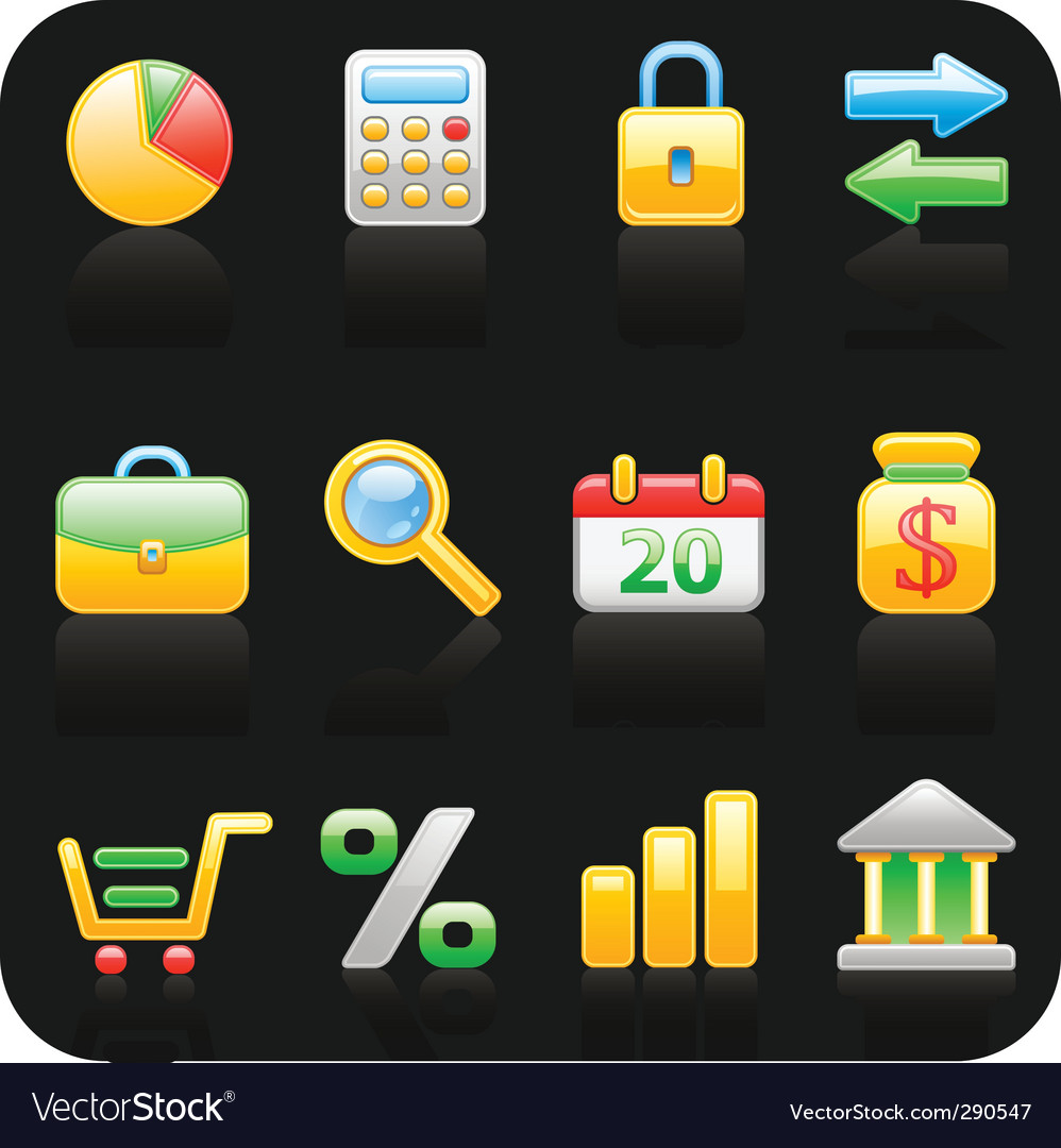 Finance black background icon set