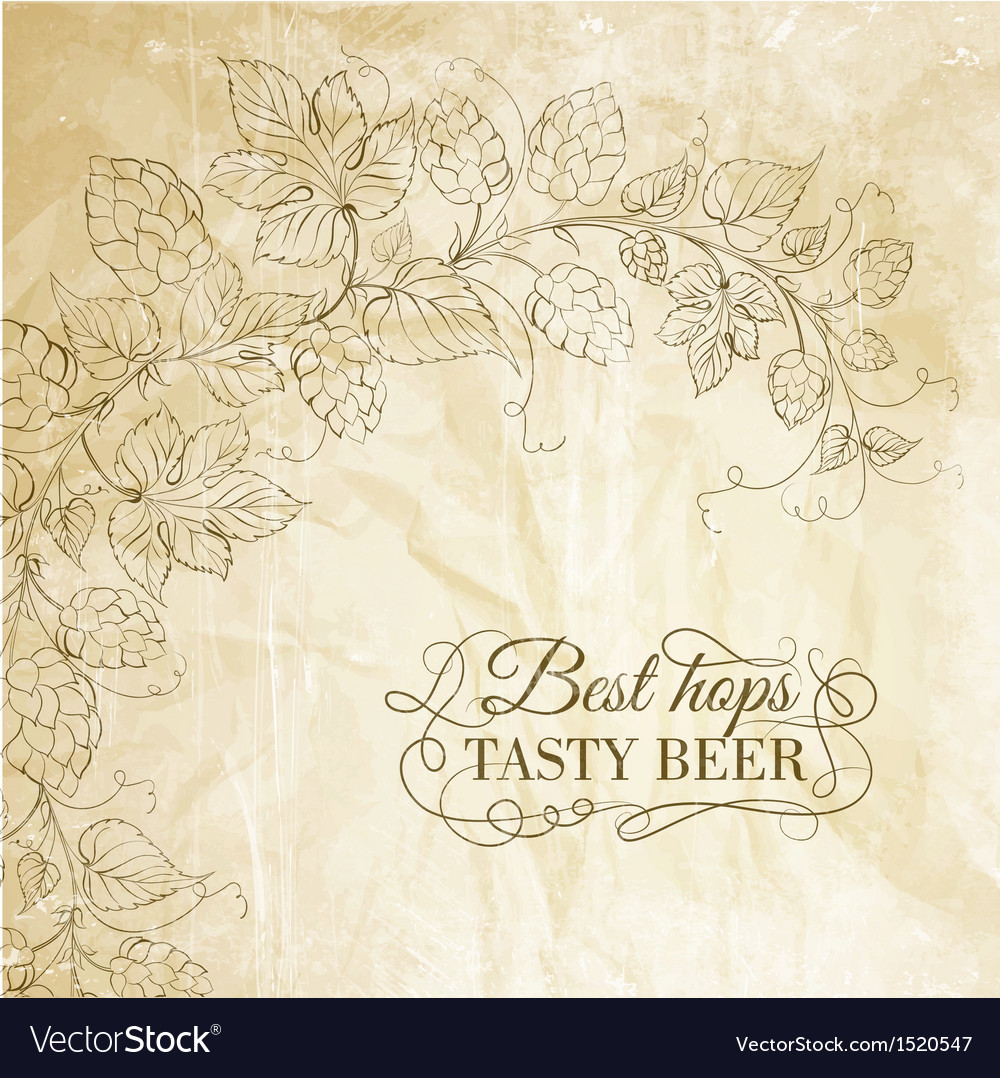 Hop and tasty beer over old paper