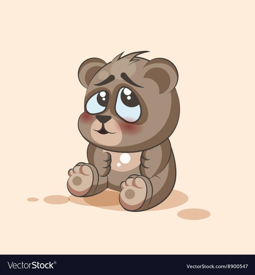 isolated emoji character cartoon bear embarrassed vector image