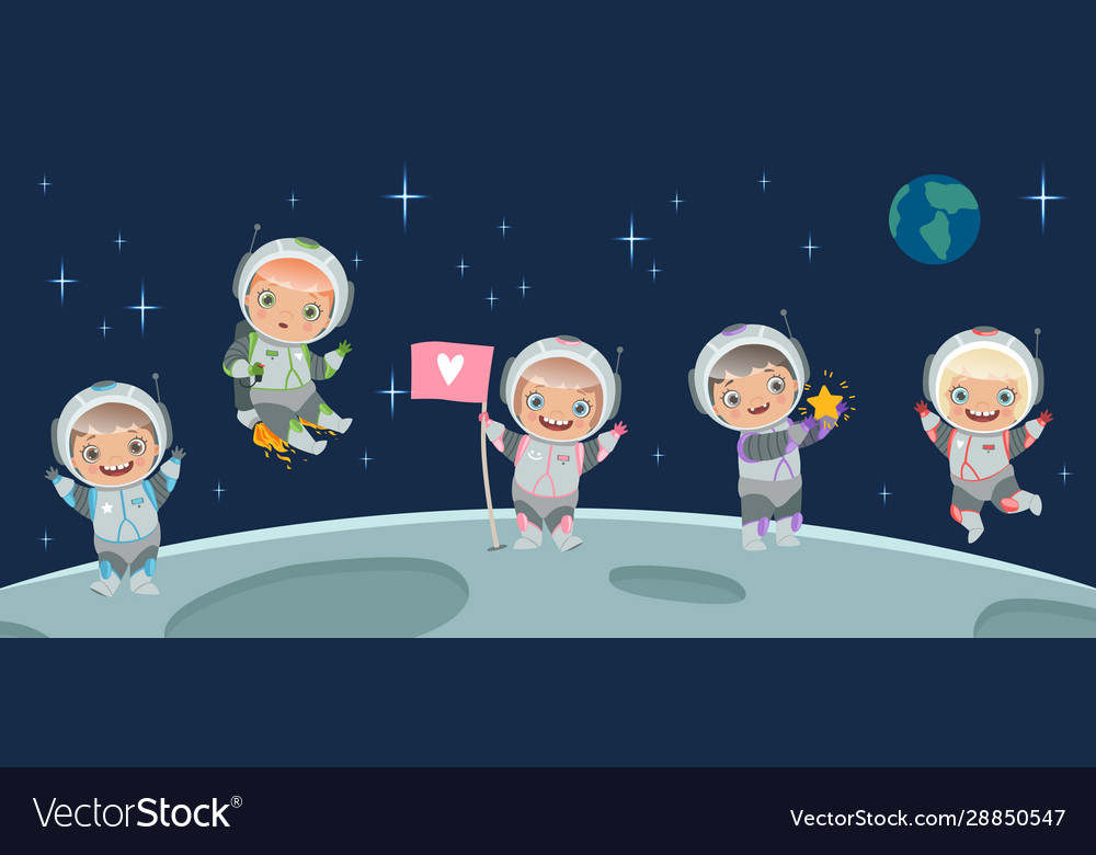 Kids astronaut on moon space background