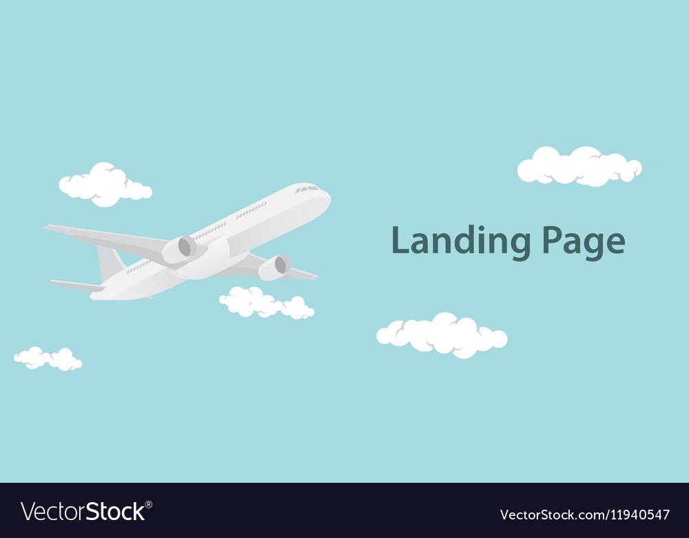 Landing page design with aero plane