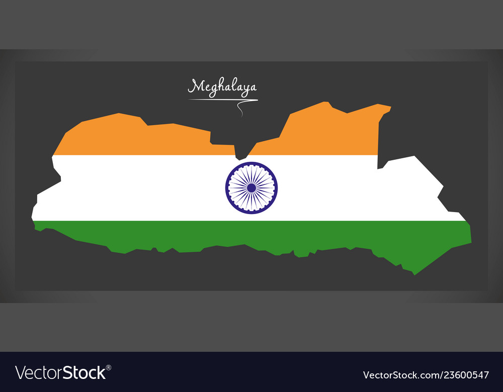 Meghalaya map with indian national flag