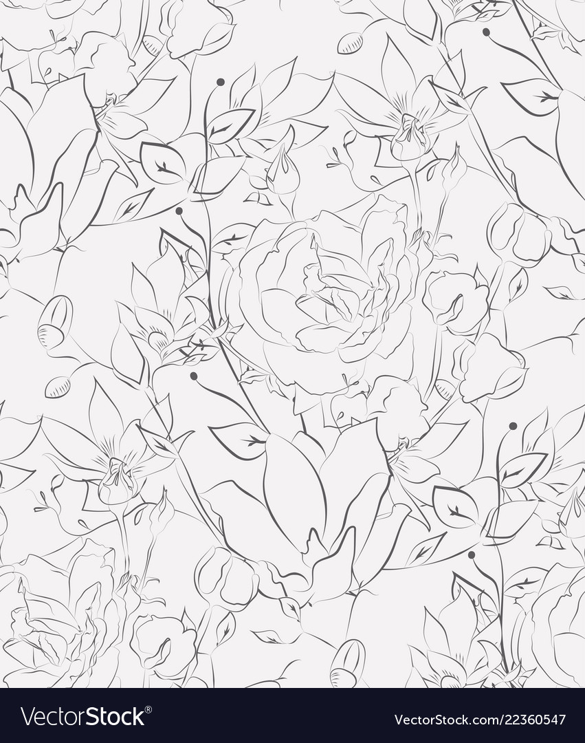 Seamless pattern with drawn flowers