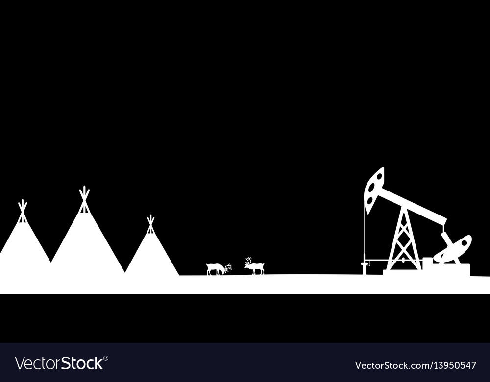 Silhouettes of the northern landscape vector image