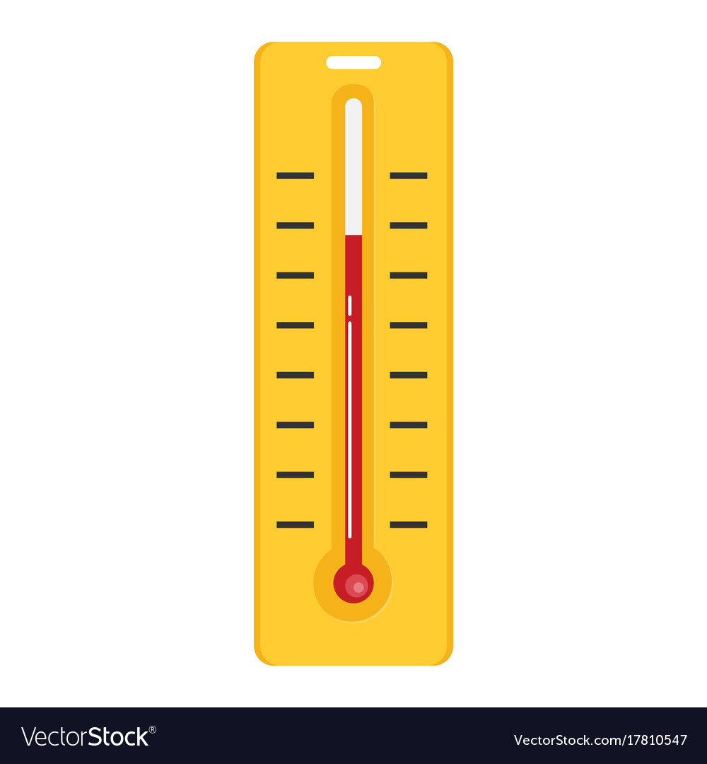 Thermometer with degrees flat icon