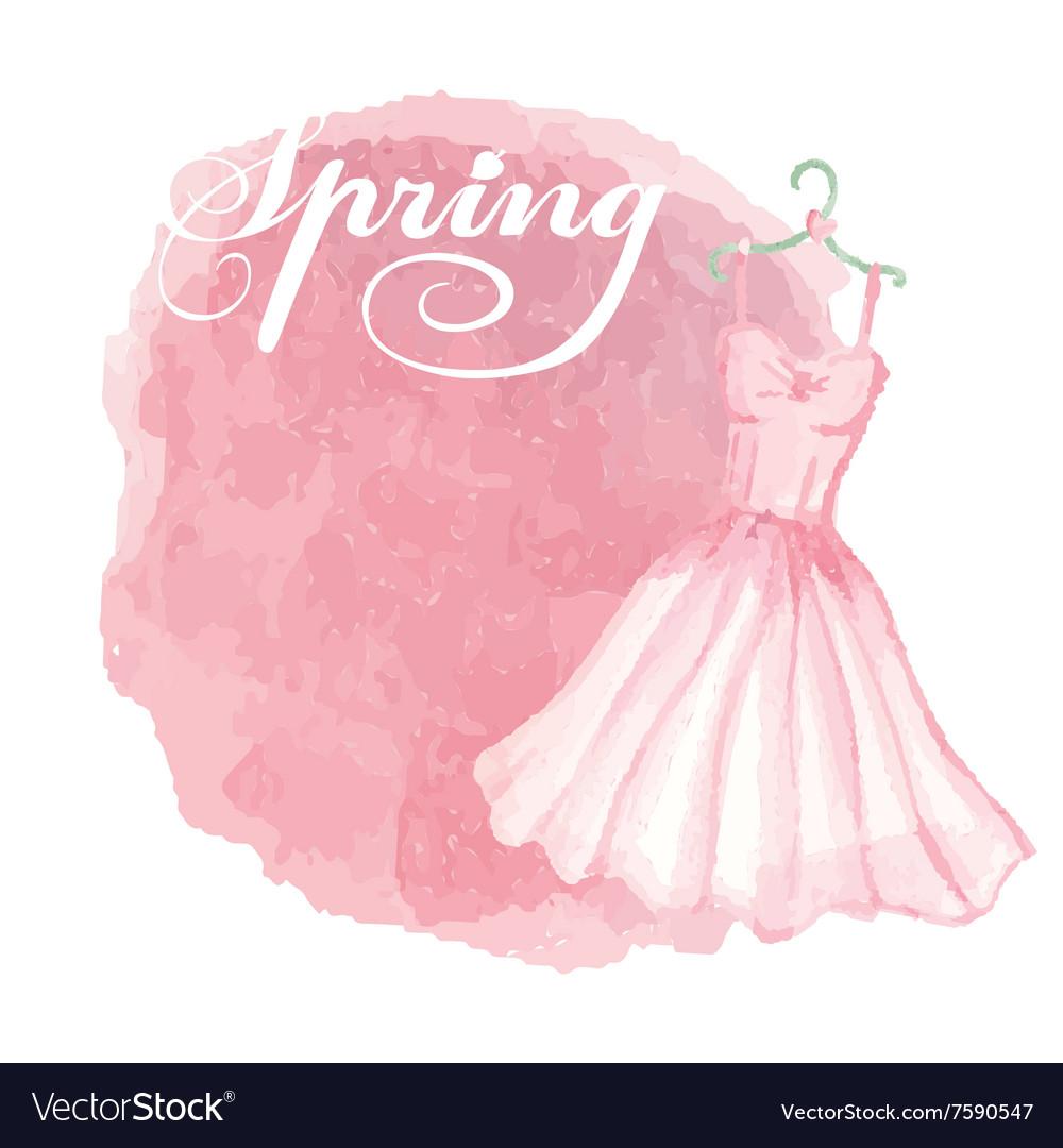 Vintage spring cardWatercolor pink dressspot